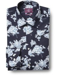 Moss Esq. - Regular Fit Navy Single Cuff Floral Print Shirt - Lyst
