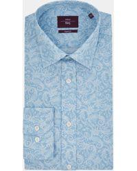 Moss Esq. - Regular Fit Blue Single Cuff Paisley Print Shirt - Lyst