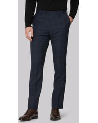 Ted Baker - Tailored Fit Blue Orange Check Trousers - Lyst