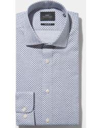 Moss Bros - Extra Slim Fit Single Cuff Blue Brushed Melange Spot Shirt In Italian Fabric - Lyst