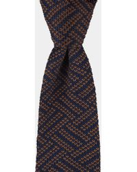 Moss London - Navy & Chocolate Zig Zag Knitted Tie - Lyst