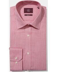 Moss Esq. - Regular Fit Pink Single Cuff Square Dobby Non Iron Shirt - Lyst