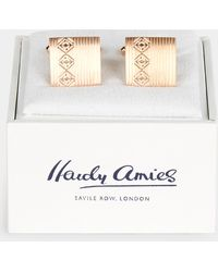 Hardy Amies - Rose Gold Square Logo Cufflinks - Lyst