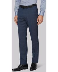 Hardy Amies - Tailored Fit Blue Melange Check Trousers - Lyst