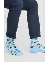 Moss London - Light Blue With Bee Socks - Lyst