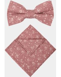Moss London - Dusty Pink Floral Cotton Bow Tie & Pocket Square Set - Lyst