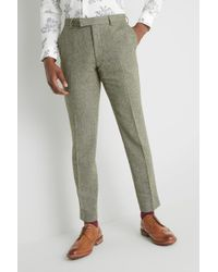 Moss London - Skinny Fit Sage Herringbone Tweed Trousers - Lyst