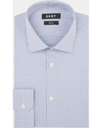 DKNY - Slim Fit Petrol Single Cuff Textured Shirt - Lyst