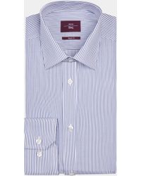 Moss Esq. - Regular Fit Blue Single Cuff Stripe Shirt - Lyst