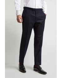 Hardy Amies - Tailored Fit Navy Double Stripe Trouser - Lyst