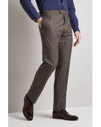 Hardy Amies - Tailored Fit Brown Twist Trouser - Lyst