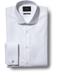 Moss Bros - Extra Slim Fit White Double Cuff Poplin Shirt - Lyst