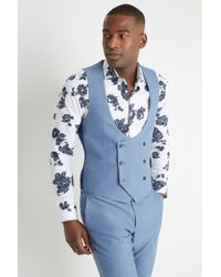 Moss London - Slim Fit Chambray Double Breasted Waistcoat - Lyst