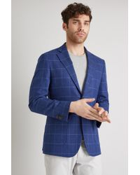 Hardy Amies - Tailored Fit Bright Blue Windowpane Jacket - Lyst