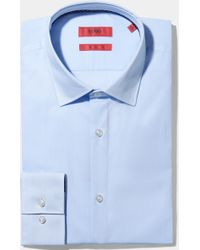 HUGO - Slim Fit Sky Hairline Stripe With Contrast Trim Shirt - Lyst