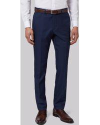 Moss London - Skinny Fit Blue Sharkskin Trousers - Lyst