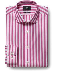 f2a55d0ed1 Moss Bros - Extra Slim Fit Pink Single Cuff Wide Stripe Shirt - Lyst