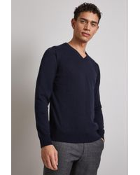 Moss London - Navy Long-sleeve Cotton V-neck Jumper - Lyst
