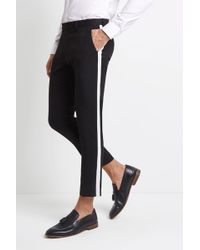 Moss London - Skinny Fit Black With White Side Stripe Cropped Trousers - Lyst