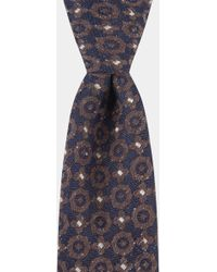 Hardy Amies - Navy & Brown Geometric Boucle Tie - Lyst