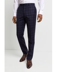 Ted Baker - Performance Tailored Fit Navy Windowpanetrousers - Lyst