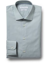 French Connection - Slim Fit Green Single Cuff Chambray Shirt - Lyst