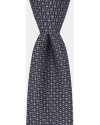 Hardy Amies - Grey & Navy Printed Geometric Tie - Lyst