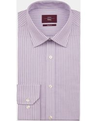 Moss Esq. - Regular Fit Lilac Single Cuff Stripe Shirt - Lyst
