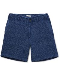 Eidos - Morgan Sashiko-stitched Indigo-dyed Cotton Shorts - Lyst
