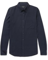 Club Monaco - Button-down Collar Herringbone Cotton-flannel Shirt - Lyst
