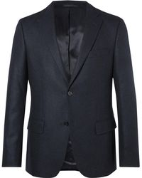 Officine Generale - Midnight-blue Herringbone Cashmere Blazer - Lyst