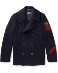 Ralph Lauren Purple Label - Embellished Wool And Cashmere-blend Peacoat - Lyst