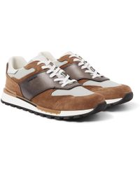 Berluti - - Fast Lane Leather, Suede And Nylon Trainers - Brown - Lyst