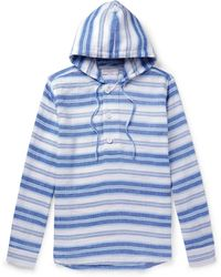 Orlebar Brown - Penley Striped Linen And Cotton-blend Hoodie - Lyst