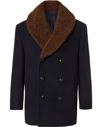 Brioni - Double-breasted Shearling-trimmed Cashmere-felt Coat - Lyst