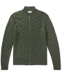 John Smedley - Textured-knit Merino Wool Zip-up Cardigan - Lyst