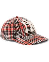 Gucci - + New York Yankees Appliquéd Checked Wool-blend Tweed Baseball Cap  - Lyst 4d76436235a9