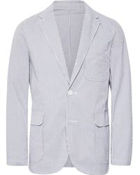 Beams Plus - Blue Striped Coolmax Seersucker Blazer - Lyst