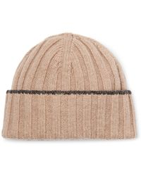 Brunello Cucinelli - Contrast-tipped Ribbed Wool Beanie - Lyst