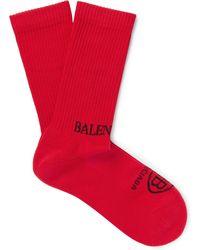 Balenciaga - Logo-intarsia Ribbed Stretch Cotton-blend Socks - Lyst