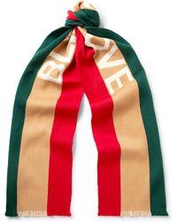 Gucci - Striped Intarsia Wool And Silk-blend Scarf - Lyst