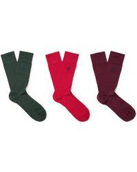 London Sock Co. - Three-pack Polka-dot Stretch Cotton-blend Socks - Lyst