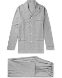 Anderson & Sheppard - Prince Of Wales Checked Brushed-cotton Pyjama Set - Lyst