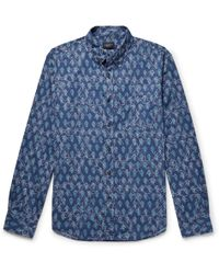 Club Monaco - Slim-fit Button-down Collar Printed Cotton Shirt - Lyst