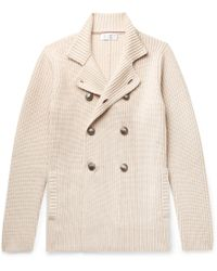 Brunello Cucinelli - Double-breasted Ribbed Virgin Wool, Cashmere And Silk-blend Cardigan - Lyst