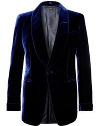 Tom Ford Navy Shelton Slim-fit Velvet Tuxedo Jacket