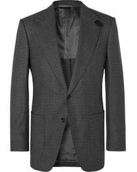 Tom Ford Gray Atticus Slim-fit Unstructured Houndstooth Wool Blazer