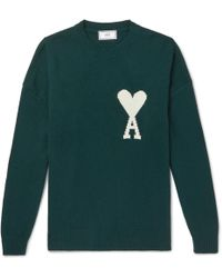 AMI - Oversized Logo-intarsia Knitted Sweater - Lyst