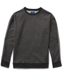 Beams Plus | - Webbing-trimmed Mélange Loopback Cotton-jersey Sweatshirt - Charcoal | Lyst