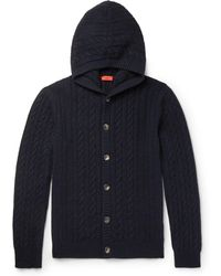 Isaia - Cable-knit Cashmere Hooded Cardigan - Lyst
